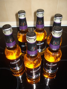 Toasting Monkey's birthday thanks to Carling and Aldi